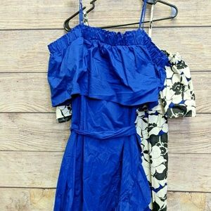 Who What Wear Women's Blue Ruffled Cold Shoulder